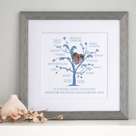 Personalised Sapphire Anniversary Photo Family Tree